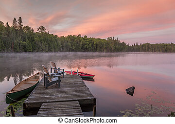 Cottage Dock on a Canadian Lake at Dawn at Dawn