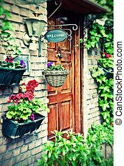 cottage door with spring  flower