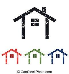 Cottage grunge icon set - Colored grunge icon set with...