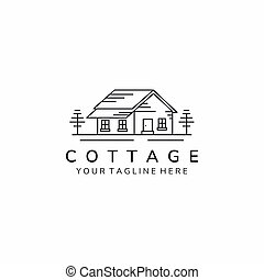 cottage home minimalist line art simple icon logo template vector illustration design
