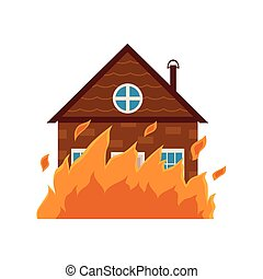Cottage house burning, fire insurance concept icon