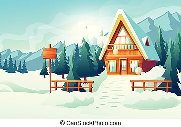 Cottage house in winter mountains cartoon vector