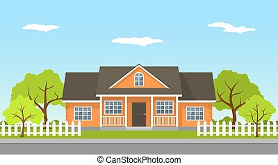 cottage house landscape - picture of a classic cottage house...