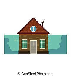 Cottage house under water, flood insurance icon - Cottage...
