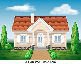 cottage house with the environment, background sky and...