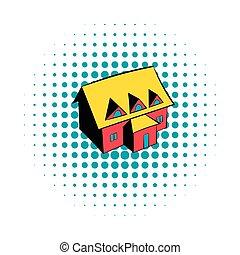 Cottage icon, comics style