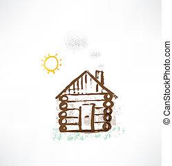cottage, icon., grunge