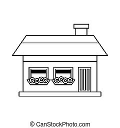 Cottage icon in outline style