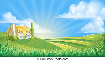 Cottage in rolling hills - An illustration of a cute ...