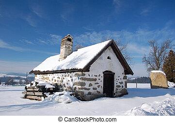Cottage in winter landscape