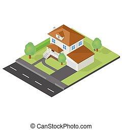 cottage, isometrico, icona