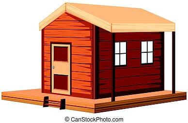cottage, legno, disegno, 3d