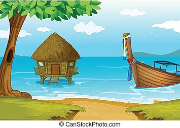 cottage legno, spiaggia, barca