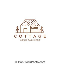 cottage line art logo vector illustration design