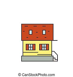 Cottage line icon concept. Cottage flat vector sign, symbol, illustration.