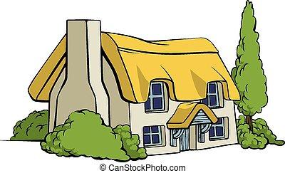 cottage, o, casa, fattoria, paese