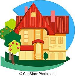 cottage - Red Roofed Cottage illustration