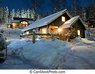 The cottage village for tourists in the winter in New Year's Eve