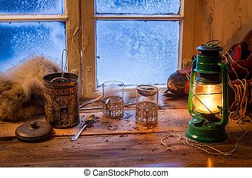 cottage, su, uno, congelato, giorno, in, inverno