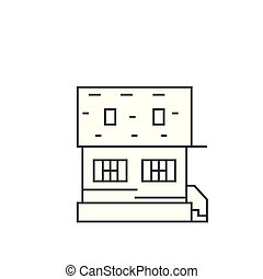Cottage thin line icon concept. Cottage linear vector sign, symbol, illustration.