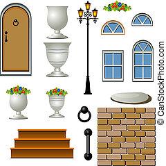 cottage., vecteur, illustration