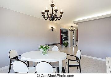 cottage, vibrante, -, stanza, cenando