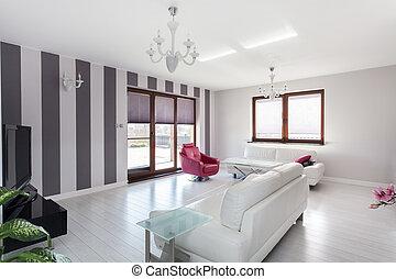 cottage, vibrante, -, stanza, vivente