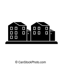 cottage village  icon, vector illustration, sign on isolated background