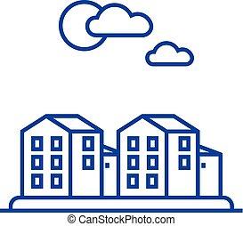 Cottage, village line icon concept. Cottage, village flat  vector symbol, sign, outline illustration.