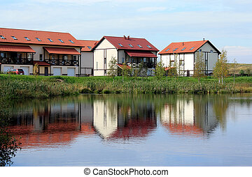 cottage village on the lake
