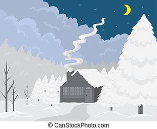 Cottage Winter Scene