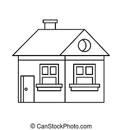 Cottage with a chimney icon, outline style