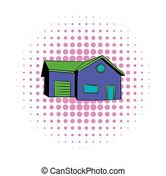 Cottage with a garage icon, comics style