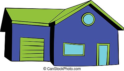 Cottage with a garage icon, icon cartoon