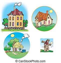 Cottages - Hand drawn illustrations about different houses....
