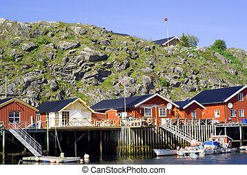 Cottages on island Skrova on Norwegian Lofoten Islands