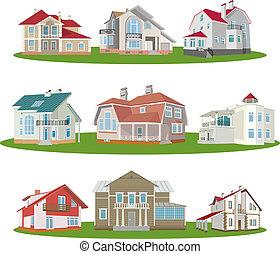Cottages. Set. Vector illustration for you design