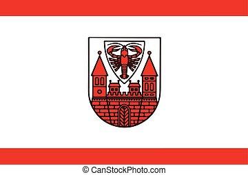 cottbus, format., vector, bandera, germany.