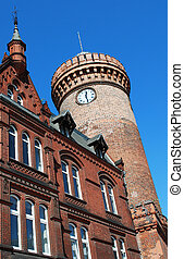 cottbus, germany with spremberger turm in front of blue sky
