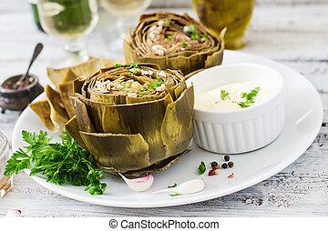 cotto, carciofi, cotto, con, aglio, salsa, senape, e, prezzemolo