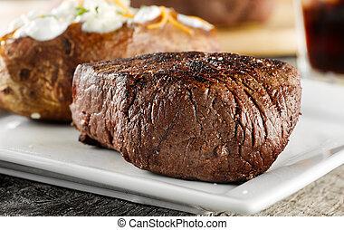 cotto ferri, bistecca, cena.