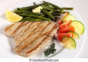 cotto ferri, bistecca tonno, pasto