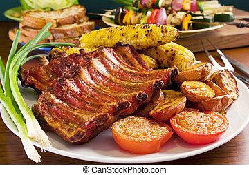 cotto ferri, carne di maiale, costole, e, verdura