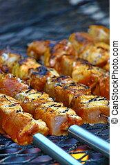 cotto ferri, griglia, carne, delizioso, barbecue