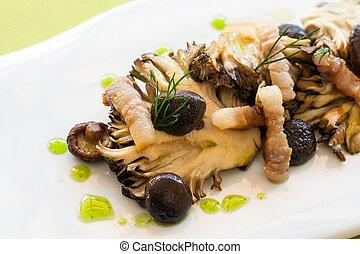 cotto ferri, macro, fine, mushrooms.
