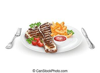 cotto ferri, piastra, bistecca