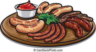 cotto ferri, salsicce, con, salsa