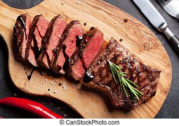 cotto ferri, striploin, bistecca