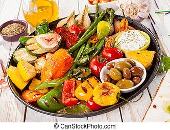 cotto ferri, tavola, verdura, picnic, vassoio