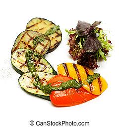 cotto ferri, verdura, sfondo bianco